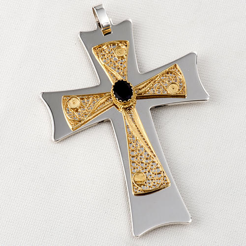 Pectoral cross made of sterling silver, 18Kt gold, rubies 25