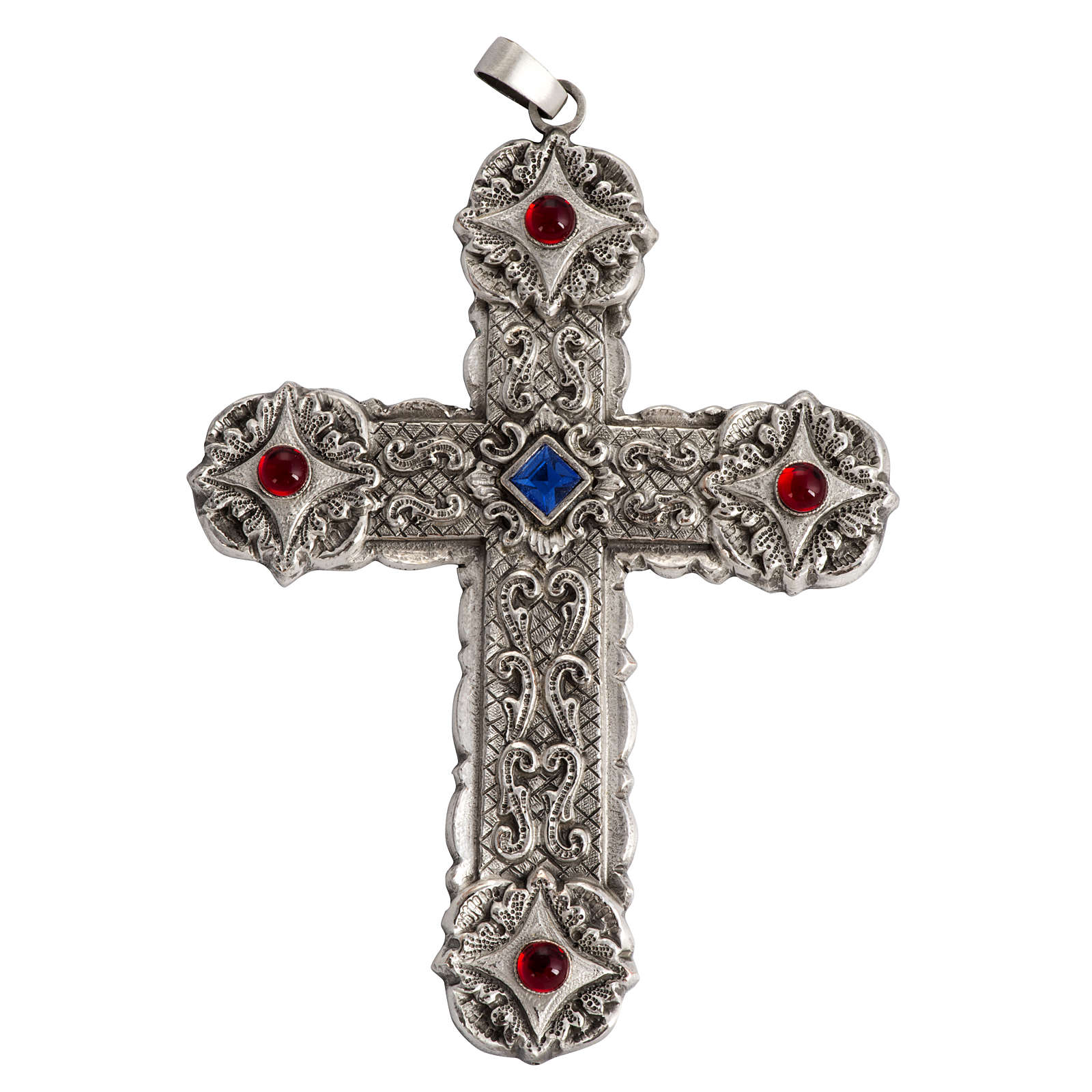 Pectoral cross in sterling silver, 18Kt gold, rubies 3