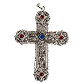 Pectoral cross in sterling silver, 18Kt gold, rubies s2