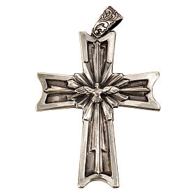 Pectoral cross in sterling silver, 18Kt gold, rubies s3
