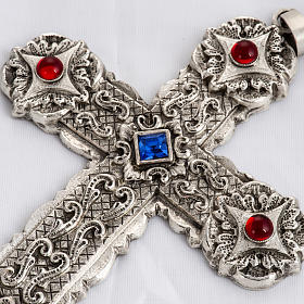 Pectoral cross in sterling silver, 18Kt gold, rubies s4