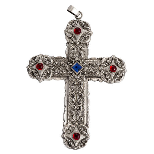 Pectoral cross in sterling silver, 18Kt gold, rubies 2