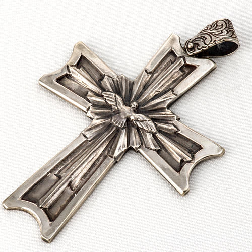 Pectoral cross in sterling silver, 18Kt gold, rubies 5