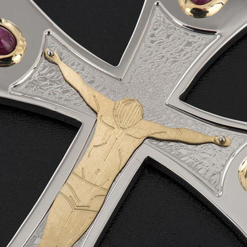 Pectoral cross in sterling silver, 18Kt gold, rubies 15