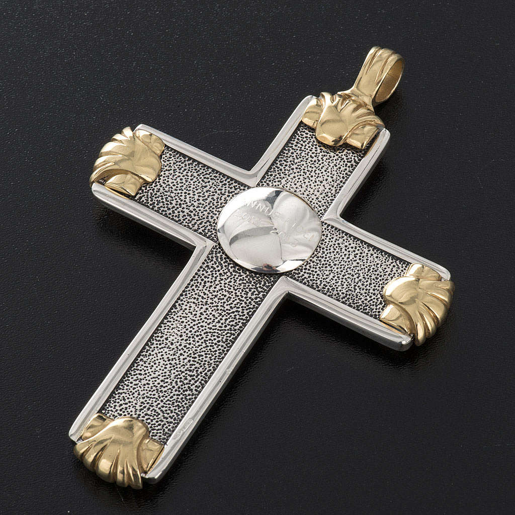 Pectoral cross in sterling silver, white and gold, Year of Faith 3