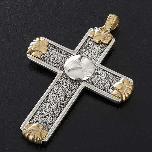 Pectoral cross in sterling silver, white and gold, Year of Faith 15
