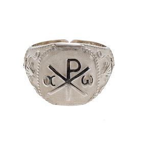 Anello vescovile regolabile XP alfa omega argento 925 s3