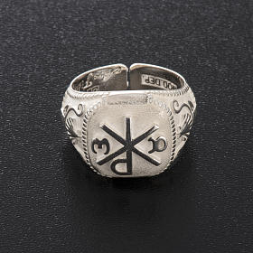 Anello vescovile regolabile XP alfa omega argento 925 s9