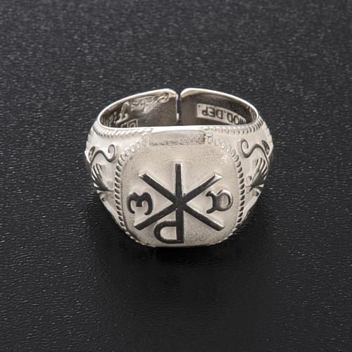 Anello vescovile regolabile XP alfa omega argento 925 9