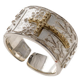 Bishop's ring in sterling silver with golden cross s1