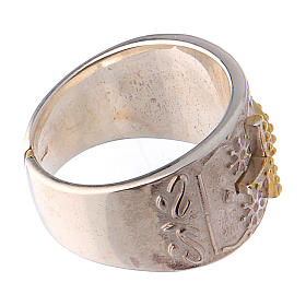 Bishop's ring in sterling silver with golden cross s4