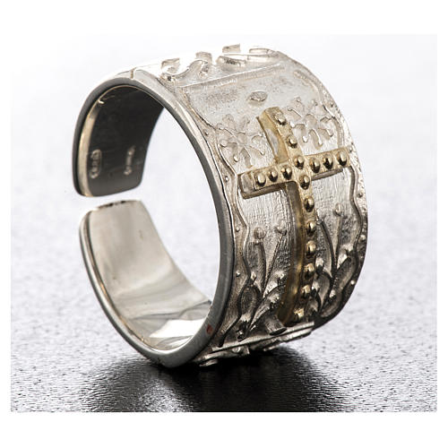 Bishop's ring in sterling silver with golden cross 4