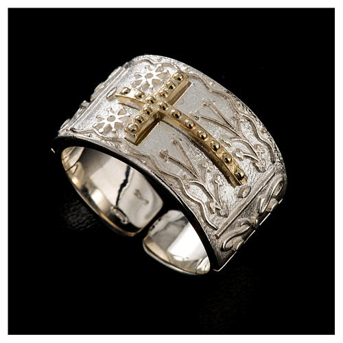 Bishop's ring in sterling silver with golden cross 5