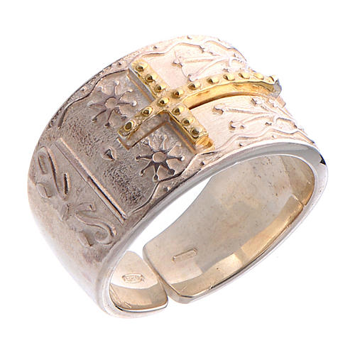 Bishop's ring in sterling silver with golden cross 1