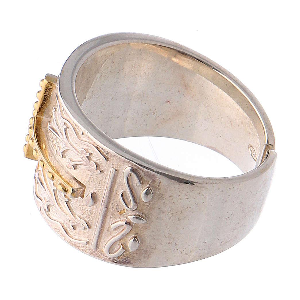 Anello vescovile argento 925 croce dorata 3