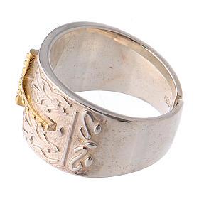 Anello vescovile argento 925 croce dorata s3