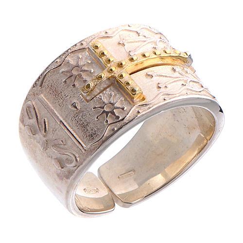Anello vescovile argento 925 croce dorata 1