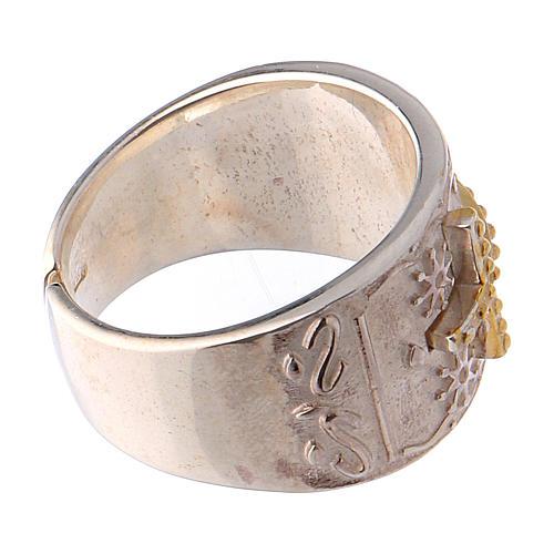 Anello vescovile argento 925 croce dorata 4