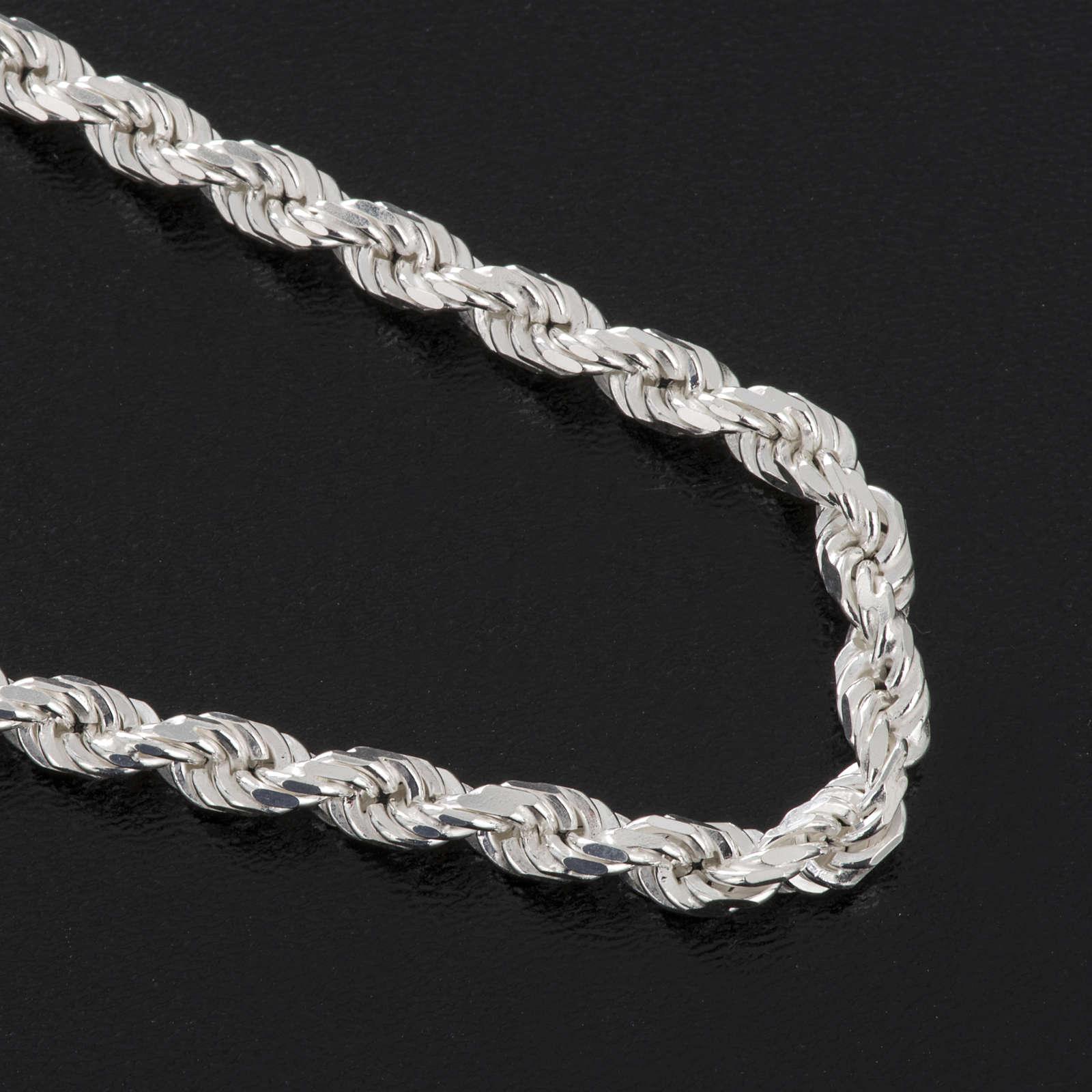 Cadena para cruz pectoral plata de ley blanca 3