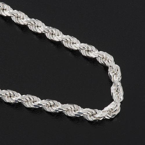 Cadena para cruz pectoral plata de ley blanca 4