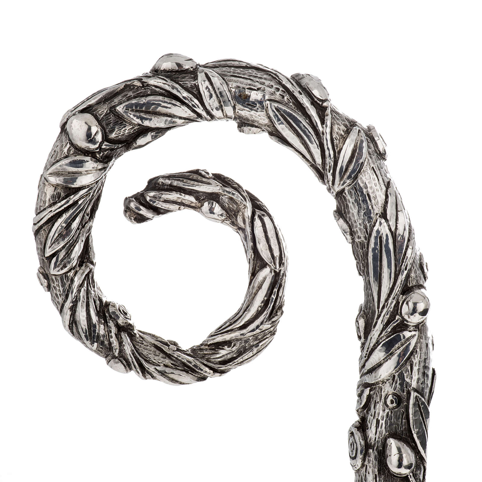 Crozier in 966 silver, electroforming, olive tree model 3