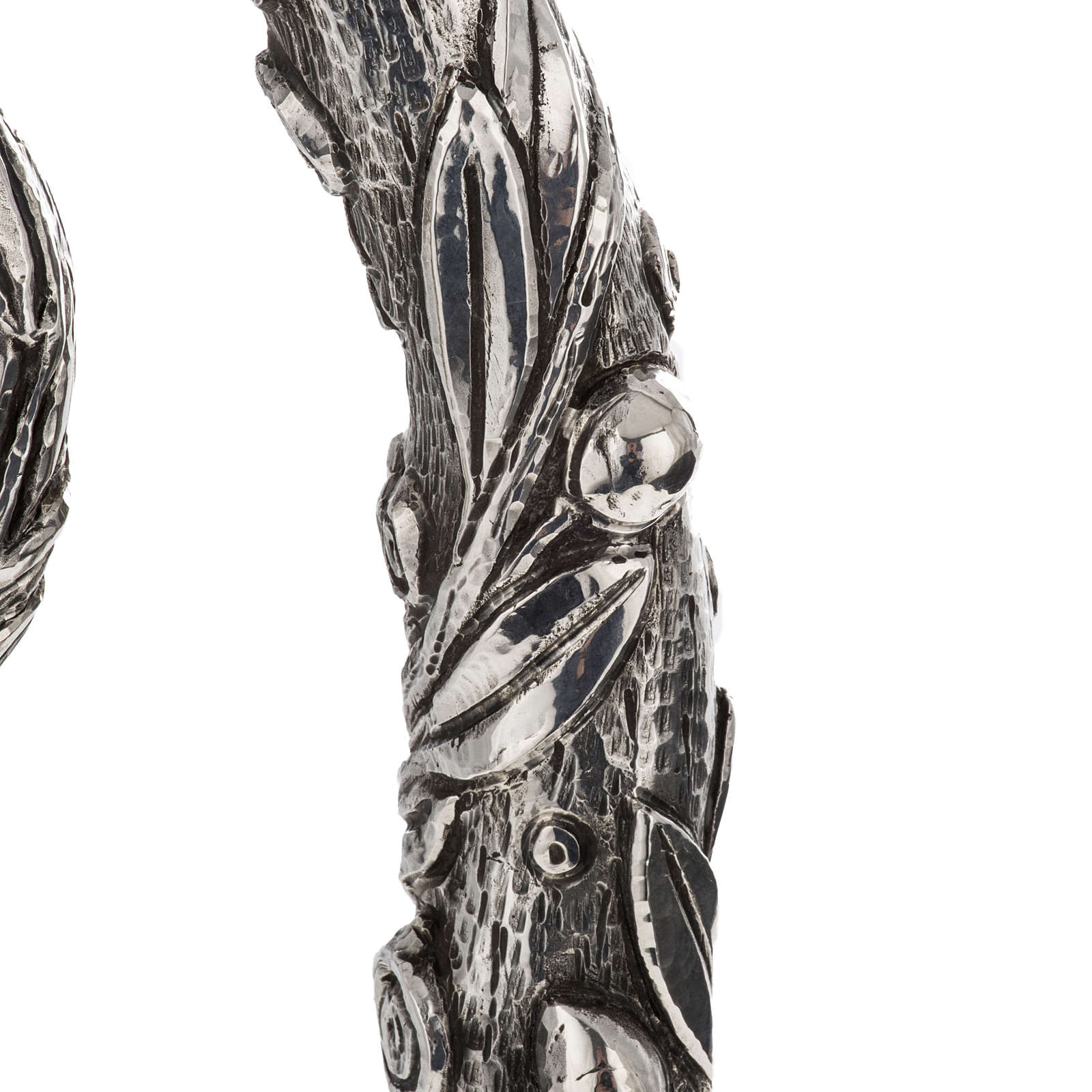 Crozier in 966 silver, electroforming, olive tree model 3