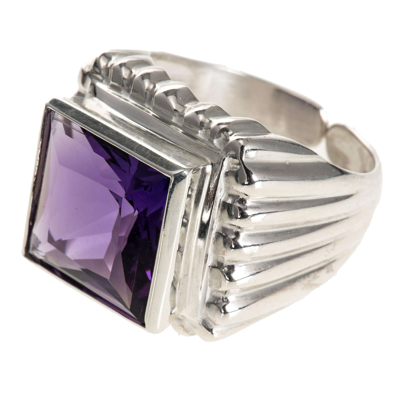 Bishop's ring silver coloured, in 800 silver with amethyst 3