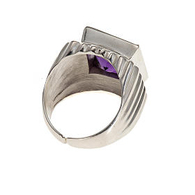 Bishop's ring silver coloured, in 800 silver with amethyst s3