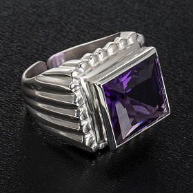 Bishop's ring silver coloured, in 800 silver with amethyst s4