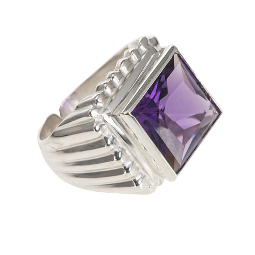 Bishop's ring silver coloured, in 800 silver with amethyst 1