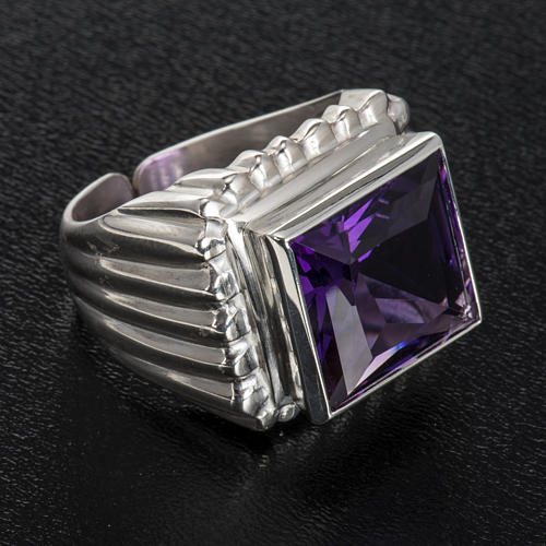 Bishop's ring silver coloured, in 800 silver with amethyst 4