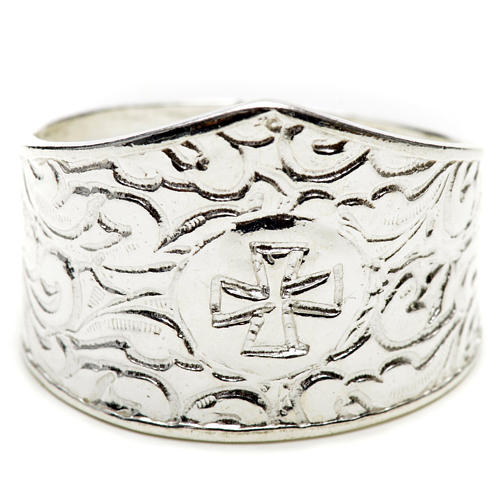 Bishop's ring in 800 silver with cross 1