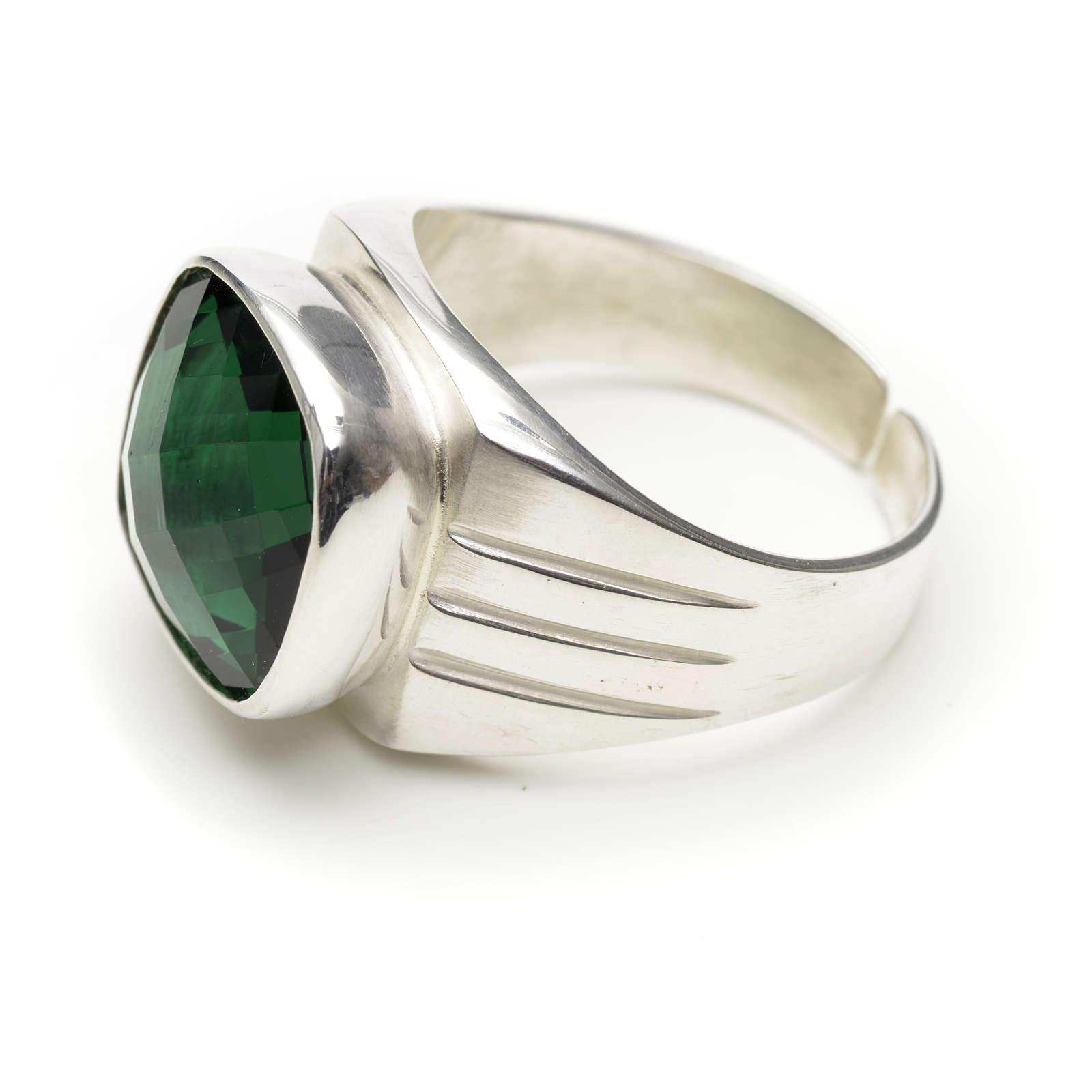 Anillo obispal plata 925 y cuarzo verde 3