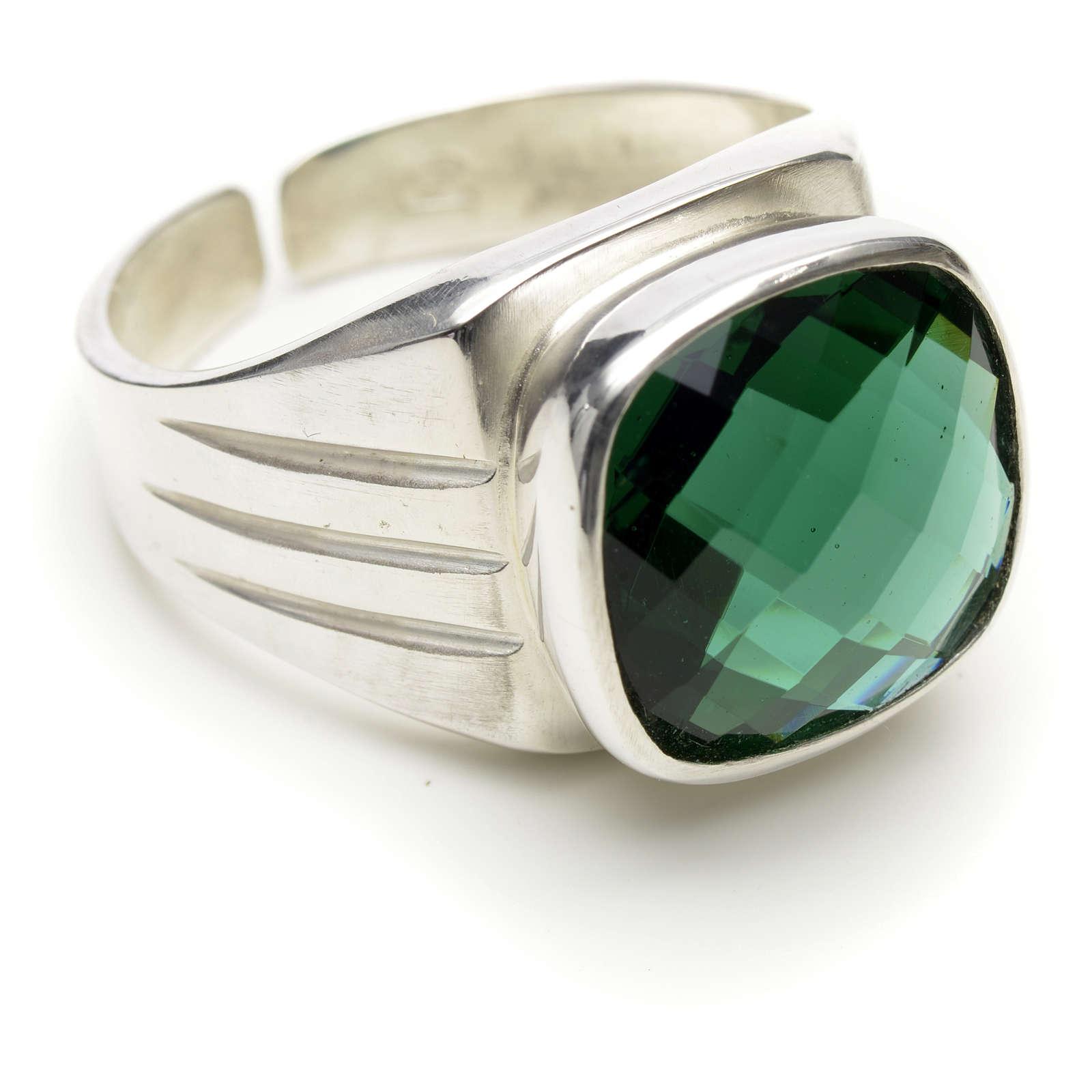 Anello vescovile argento 800 e quarzo verde 3