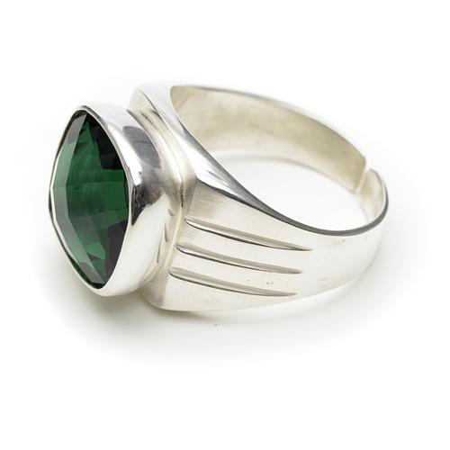 Anello vescovile argento 800 e quarzo verde 2
