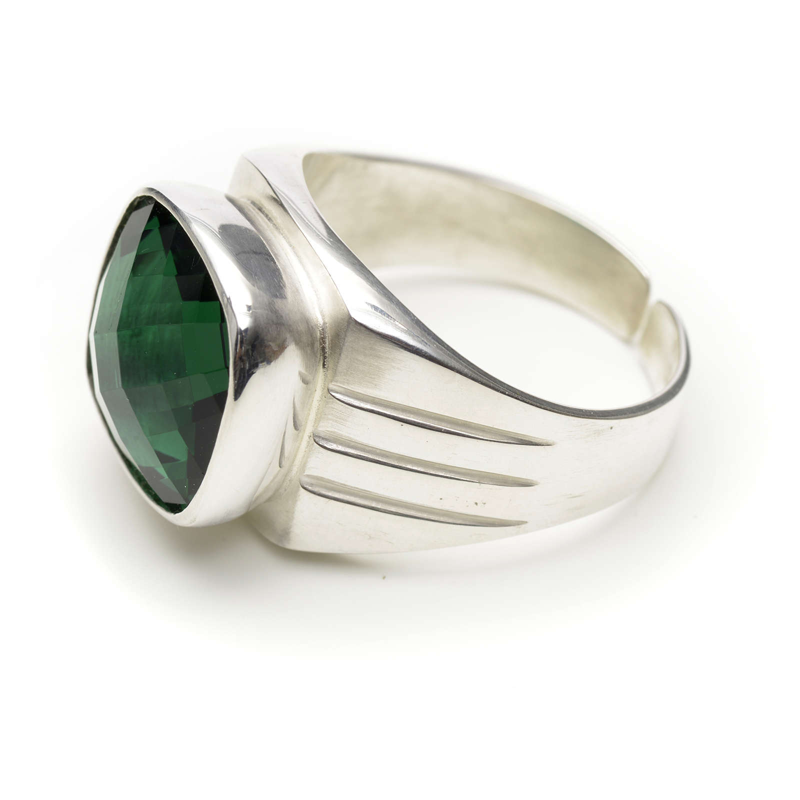 Bishop's ring in 800 silver with green quartz 3
