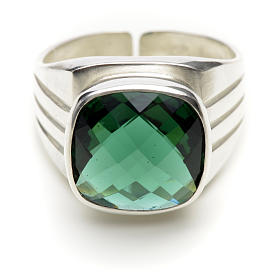 Bishop's ring in 925 silver with green quartz s3