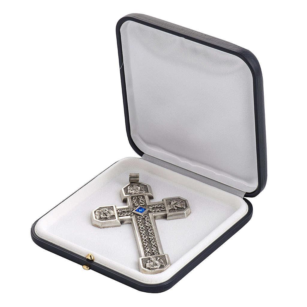 Croce pettorale in rame argentato cesellato pietra blu 3