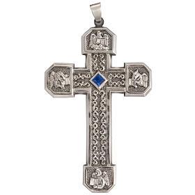 Croce pettorale in rame argentato cesellato pietra blu s1