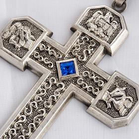 Croce pettorale in rame argentato cesellato pietra blu s2