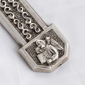 Croce pettorale in rame argentato cesellato pietra blu s3