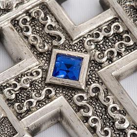 Croce pettorale in rame argentato cesellato pietra blu s4