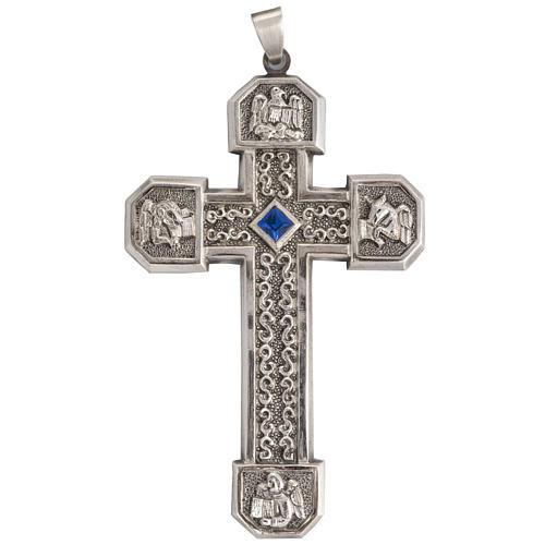 Croce pettorale in rame argentato cesellato pietra blu 1