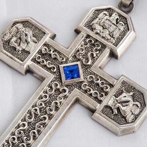 Croce pettorale in rame argentato cesellato pietra blu 2