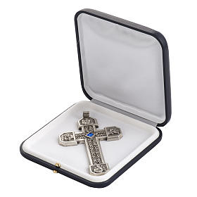 Pectoral cross in chiselled silver copper with blue stone s6
