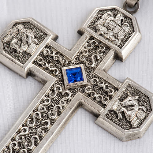 Pectoral cross in chiselled silver copper with blue stone 2