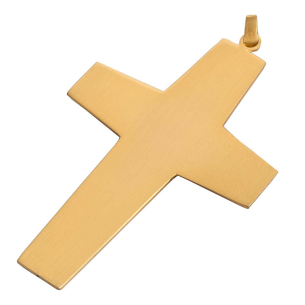 Croce pettorale rame dorato cesellato pietra blu 3