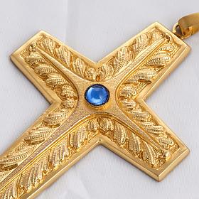 Croce pettorale rame dorato cesellato pietra blu s2