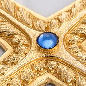 Croce pettorale rame dorato cesellato pietra blu s3