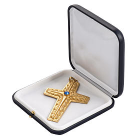 Croce pettorale rame dorato cesellato pietra blu s5